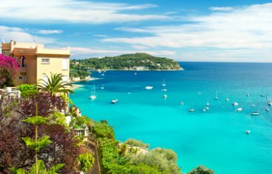 beautiful mediterranean landscape, view of luxury resort and bay, french riviera, France, near Nice and Monaco